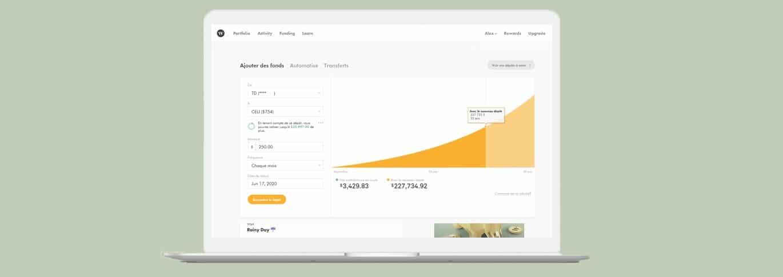 L'écran d'approvisionnement de compte Wealthsimple